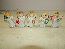 5 Homco Vintage Angel Porcelain Ornaments Home Interiors Christmas Tree