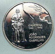1992 PORTUGAL Juan Rodriguez Cabrillo CALIFORNIA Proof Silver 200 Es Coin i84618