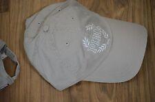 Victoria's Secret love pink gray taupe khaki ucre hat baseball cap white logo