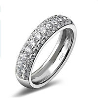 Sterling Silver Plated Pave Set CZ Women's Anniversary Wedding Band Ring Sz 5-10