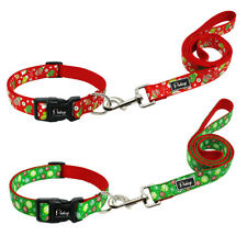 Christmas Dog Collar with Matching Lead, Red or Green