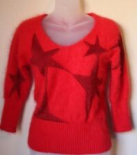 Antonio Berard 80% Angora Sweater Red Sparkle Stars Made in Italy Size 40 Small
