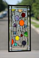 "Beveled Stained Glass Panel 29"" X 17"",Hanging,Transom,"