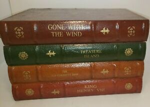 EUC Large wood 4 Old Book stacked CD Holder, Gone w/the wind and other classics