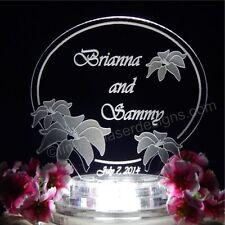 Lily Flower Lighted Wedding Cake Topper Cake Top Acrylic Custom Engraved LED