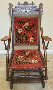 Antique 1880's E W Vaill Worcester Mass. Wooden Carpet Folding Rocking Chair TLC
