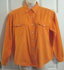 NEWPORT NEWS Women's Size 18 Orange Denim Western Snap Front L/S Shirt Vintage