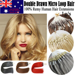 """HOT 7A 20"""" 1G Remy Double Drawn Micro Loop Ring Bead Human Hair Extensions AUS"""