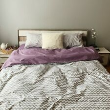 Natural Cotton Double-Sided Duvet Cover in Purple and Gray Twin Full Queen King