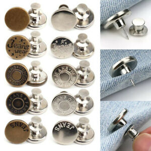 5 Pcs Metal Jeans Tack Press Snap Buttons Fastener Replacement For Jeans Craft