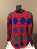 Vintage 80s 90s Preppy Sweater Oversized Argyle Slouchy Size M VSCO