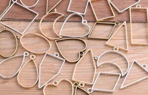 Geometric Plating Bezel Pendants Hollow Glue Tray Blank Frame Charms 10/30Pcs