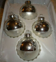 Vintage Krebs Glass Snowflake Christmas Ornaments Lot of 4