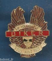 Pin's pin LOGO MOTO BIKER TETE DE MORT AILEE ( ref L09 )