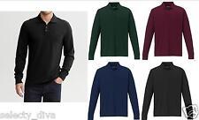 Mens Full Sleeve Polo Shirt T-shirt Fashion Top Work Wear Cotton S M L XL XXL