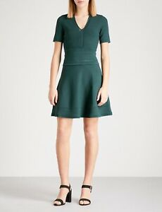 Gorgeous Women's SANDRO BETSY Forest Green Knit Dress Size 1 UK 8