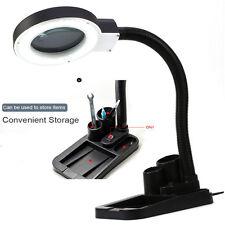 5X 10X Tabletop Gooseneck Magnifying Lamp Magnifier Desk Adjustable Light Black