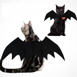 2021  Halloween Pet Dog Cat Costume Cosplay Black Bat Wings Vampire Pumpkin Bell