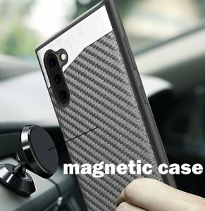 For Samsung Galaxy Note 10 - Magnetic Backplate Black Carbon Fiber Rubber Case