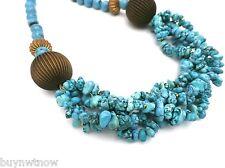 "Handmade Artisan Necklace Genuine Turquoise Large Chunky 18"""