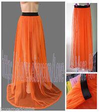 Orange Mesh See Through Beach Party Clubwear Long Skirt Dress One size Fit S,M,L