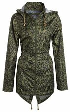 Ladies Plus Size Plain Printed Parka Hooded Fishtail Polyester Mac Raincoats