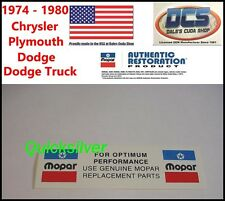 1974 - 1980 Chrysler MOPAR REPLACEMENT PARTS Radiatior Core Support Decal NEW