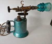 Antique Paraffin Blow Torch Lamp, night lite Steampunk,  glass Transformer shade