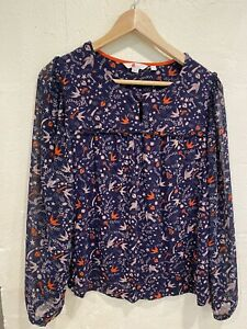Boden navy blue patterned long sleeved jersey and chiffon top fit 14/16