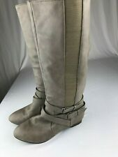 Olsenboye Tall Riding Boots Gray Tan Brown.  Elastic Stretchy Side Panels US 7.5