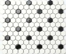 1 m² Bianco Nero Ceramica Mosaico esagonale Gloss Piastrelle DOCCE 0090