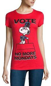 Peanuts Snoopy Vote No Mondays Joe Cool T-Shirt - Women's S M L XL - New w/Tags!