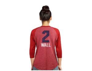 NEW John Wall Majestic Threads Womens 3/4 Sleeve Raglan Shirt Washington Wizards