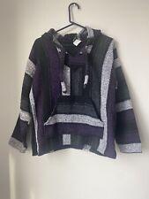 Women's Size S- Molina Indian blanket-hoodie- Black & Purple- Long Sleeves