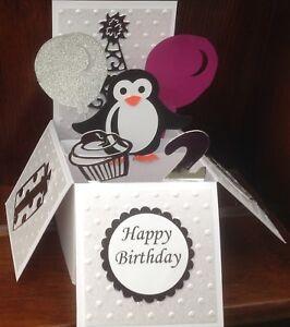 Cute little penguin pop up card/birthday