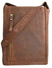 Visconti 16081 Distressed Genuine Leather Messenger Bag Shoulder Handbag Tan