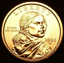 """2003 P Sacagawea Dollar US Mint Coin in """"Brilliant Uncirculated"""" Condition"""