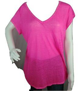 Athleta Womens Large Tee Short Sleeve Solid Pink Organic Cotton Top