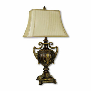 """30"""" Tall Polyresin Table Lamp with Golden finish, Urn-Shaped, Taupe Linen Shade"""