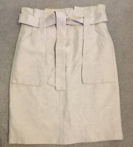 H&M Beige Stone Linen Blend Paper Bag Tie Waist Skirt. Size 12. Straight Pencil.