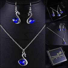 Schmuckset: Kette+Ohrhänger *blue Swan*, Weißgold pl, Swarovski Elements, +Etui