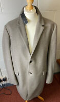 "M&S Autograph Mens Natural Grey Wool Rich Coat 4XL 52-54"" Chest 40"" Long RP£129"
