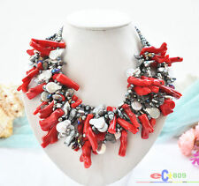 """P5261 6ROW 19"""" BLACK BAROQUE FRESHWATER PEARL RED CORAL branch NECKLACE"""