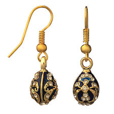 Faberge Egg Earrings with crystals 0.6'' (1.5 cm) blue #0964-11