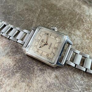 Vintage 1940s Cyma Tavannes Watersport Clamshell Tank - NOS Chronograph Bracelet