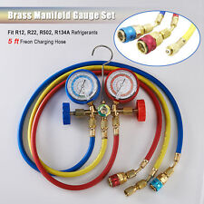 New R134A R12 R22 R502 Diagnostic Brass Manifold Gauge ACME Adapter & 5FT Hoses.