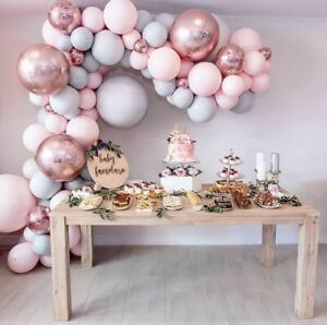 Pink Rose Gold Balloon Garland Arch Baby birthday balloons set, party balloons