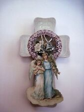 Vintage 3D Easter Card  w/ Large Cross, Two Angels & Silver Bells    *