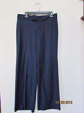Women's size 8 MERONA Navy Blue Pin Stripe Dress Pants No pocket Poly rayon wool