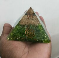 Extra Large 65-70MM Green Peridot Stone Orgone Natural Gemstone Pyramid Organite